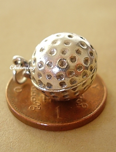 Golf Ball Sterling Silver Charm