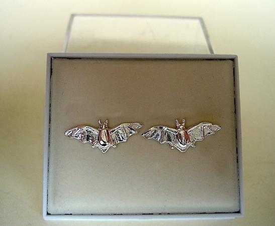 One pair Sterling Silver Bat Stud Earrings