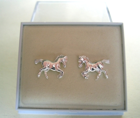 One Pair Sterling Silver Horse Stud Earrings