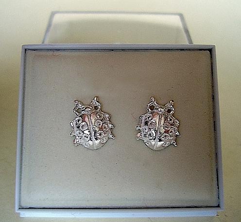 One Pair Sterling Silver Ladybird Stud Earrings