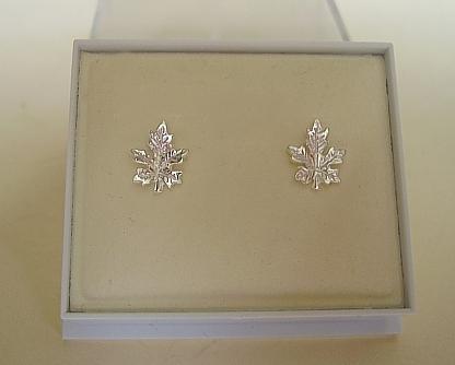 One Pair Sterling Silver Maple Leaf Stud Earrings