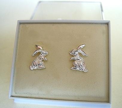 One Pair Sterling Silver Rabbit Stud Earrings