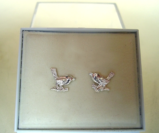 Sterling Silver Robin Stud Earrings