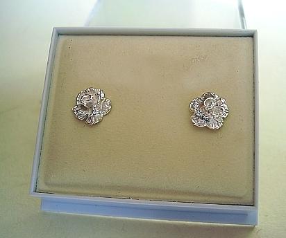 One Pair Sterling Silver Rose Stud Earrings