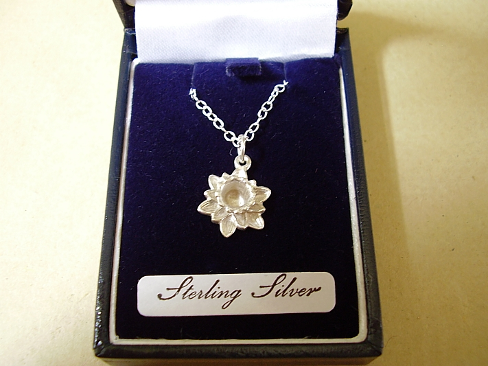 Sterling Silver Daffodil Pendant With Sterling Silver Chain