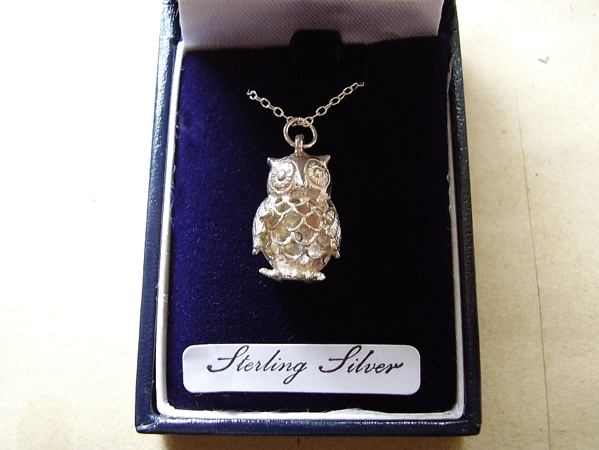 Sterling Silver Filligree Owl Pendant With Sterling Silver Chain