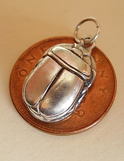 Scarab Beetle Sterling Silver Charm