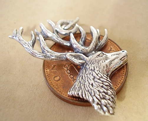 Stags Head Sterling Silver Charm