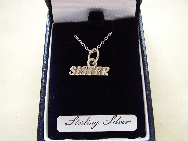 Sterling Silver Sister Pendant With Sterling Silver Chain