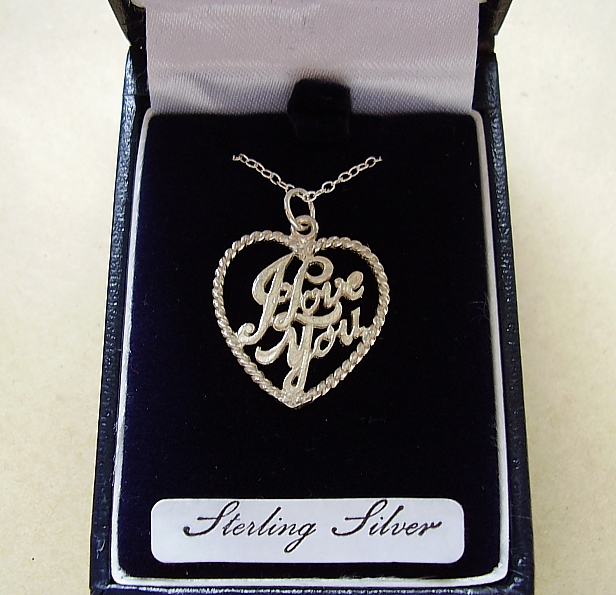 Sterling Silver I Love You Heart Pendant With Sterling Silver Chain