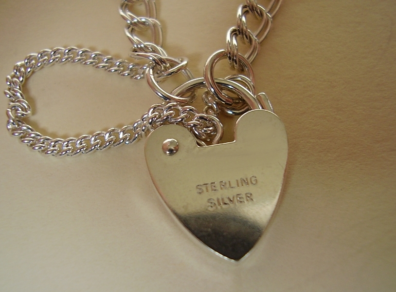 Sterling Silver Z Curb Charm Bracelet