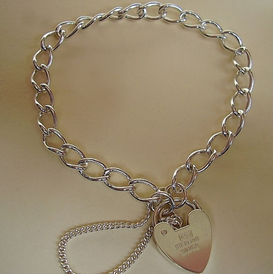 Sterling Silver Curb Charm Bracelet