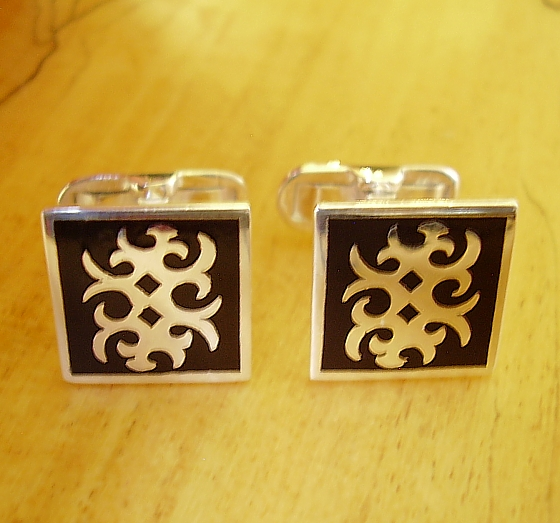 Sterling Silver Cufflinks Square Black Enamel Abstract Design