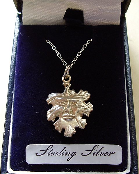 Sterling Silver Green Man Pendant With Sterling Silver Chain