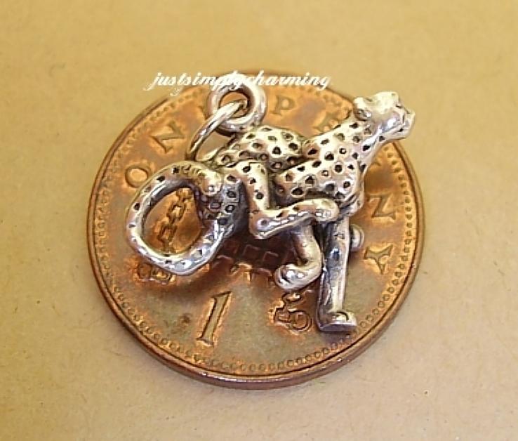 Cheetah Cat Sterling Silver Charm
