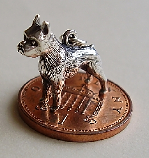 Boxer Dog Silver  Charm
