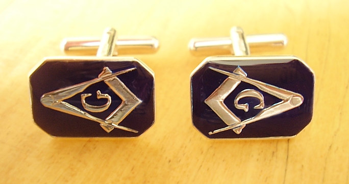 Sterling Silver Enamelled Rectangular Masonic G Cufflinks