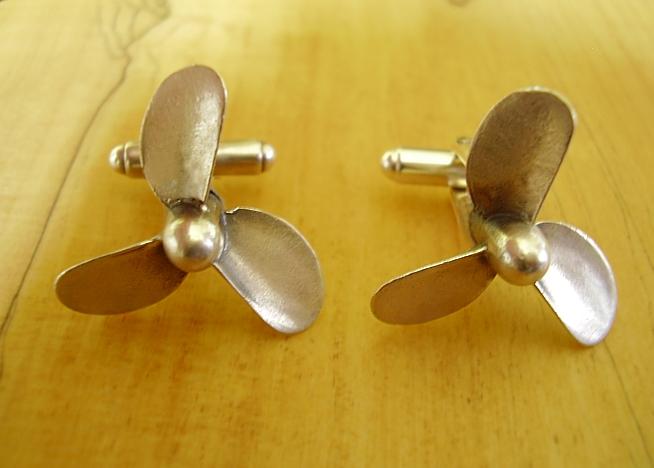 .925 Sterling Silver Nautical Propeller Cufflinks