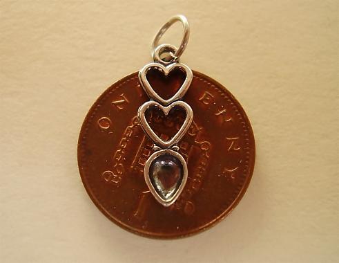 Double Hearts Lovespoon Silver Charm