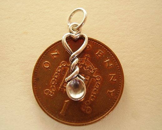 .925 Sterling Silver Welsh Heart Lovespoon Charm Charms