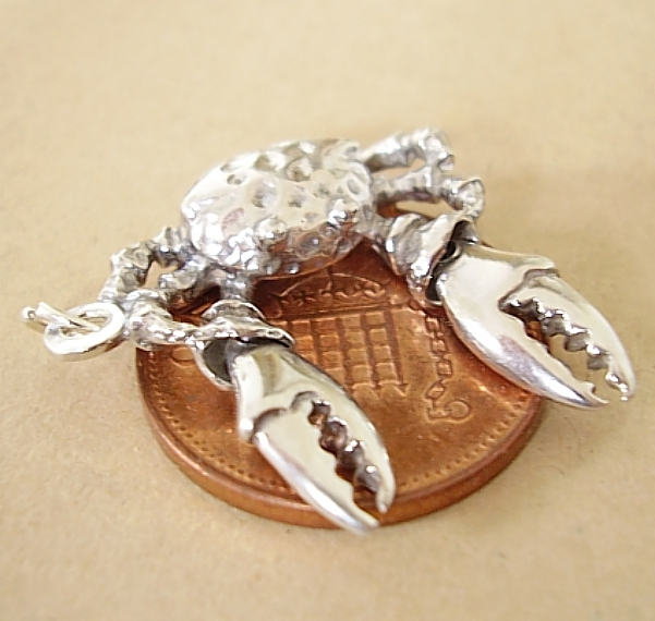 Moving Crab Sterling Silver Charm