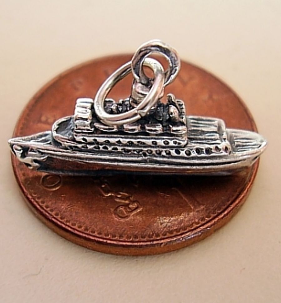 .925 Sterling Silver Cruise Liner Ship Charm