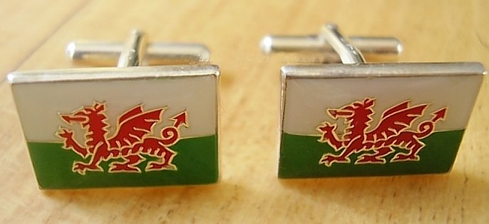 Enamelled Sterling Silver Welsh Dragon Flag Cufflinks