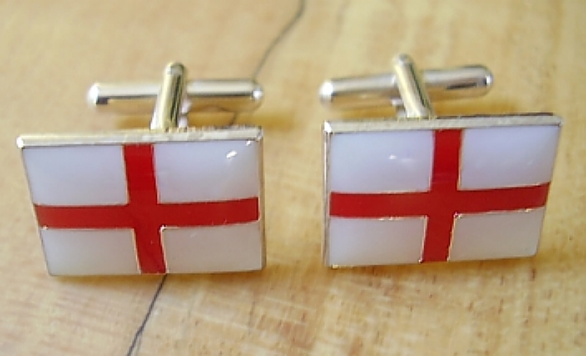 Enamelled Sterling Silver England Cross St George Cufflinks