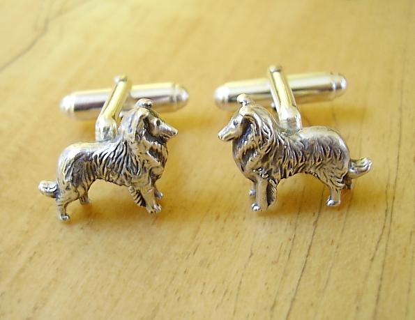 Sterling Silver Collie Sheltie Dog Cufflinks