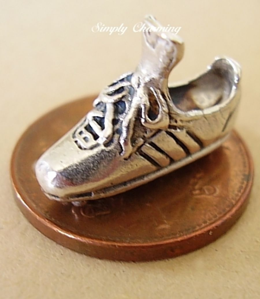 Football Soccer Boot Sterling Silver Charm