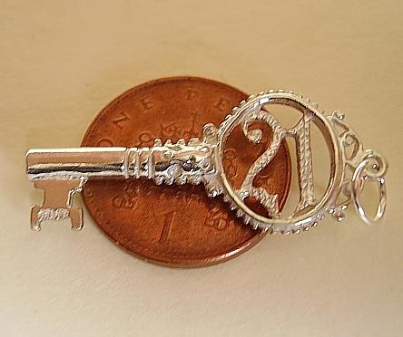 21 Twenty One Key Sterling Silver Charm