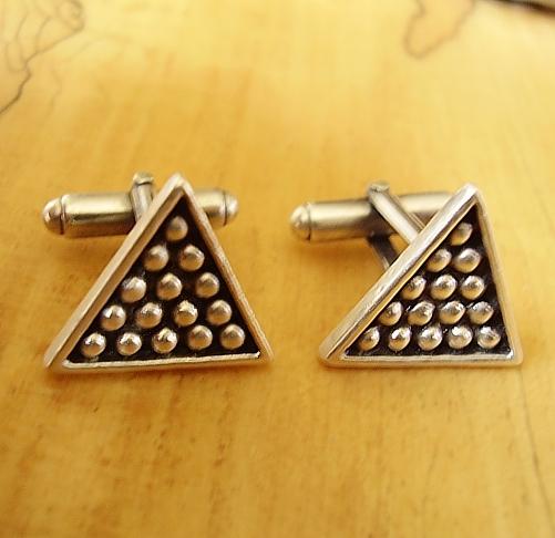 Sterling Silver Snooker Triangle Cufflinks