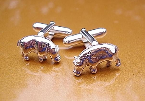 .925 Sterling Silver Hippo Cufflinks