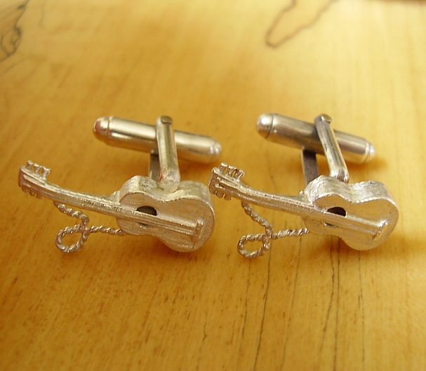 .925 Sterling Silver Acoustic Guitar Cufflinks