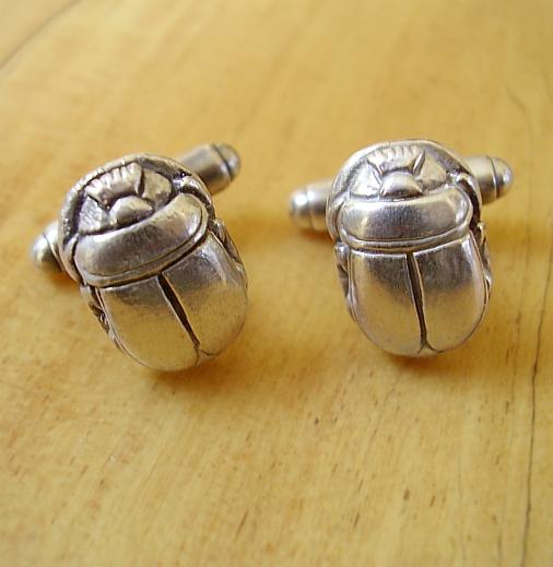 Sterling Silver Scarab Beetle Cufflinks