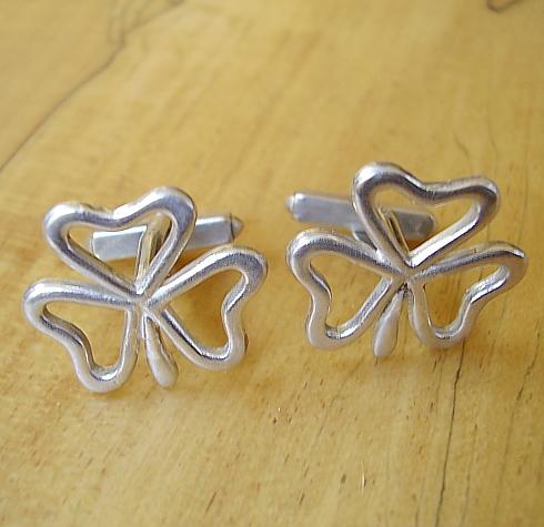 Sterling Silver Irish Shamrock Cufflinks