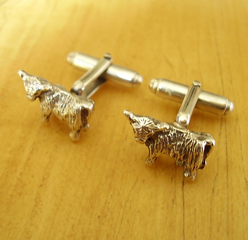 Sterling Silver Scottish Highland Cow Cufflinks