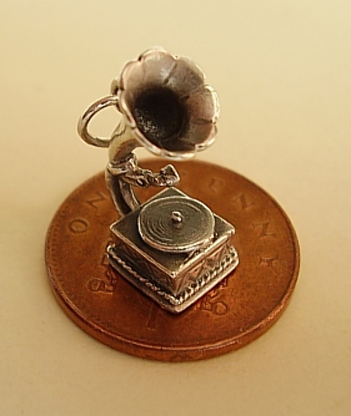 Gramophone Record Player Sterling Silver Charm