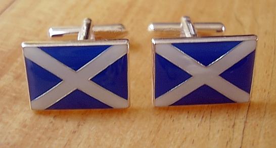 Enamelled Sterling Silver Scottish Saltire Flag Cufflinks