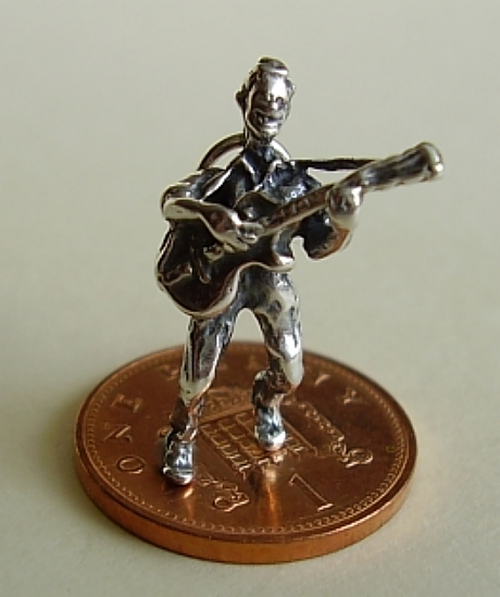 Guitarist Sterling Silver Charm