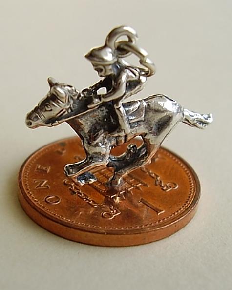 Horse Jockey Sterling Silver Charm