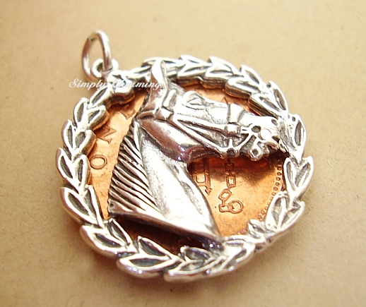 Horses Head in Laurel Leaf Surround Silver Charm