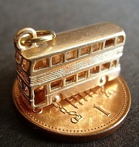 Double Decker Bus Yellow 9ct Gold Charm