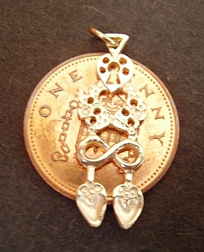 Gold Welsh Double Lovespoon Charm