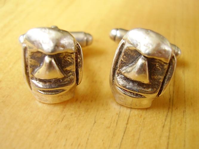 Sterling Silver Easter Island Moai Head cufflinks