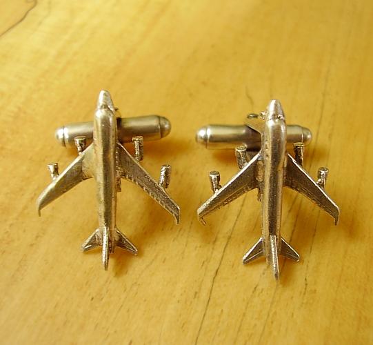 Sterling Silver Jumbo Jet Aeroplane cufflinks