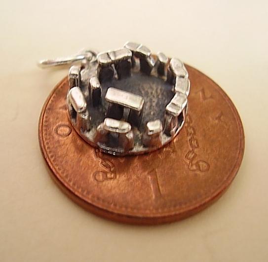 Small Stonehenge Silver Charm