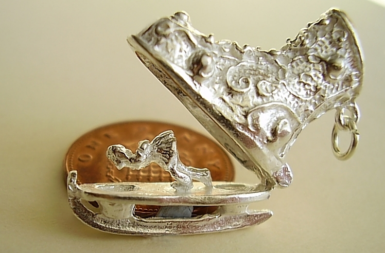 Ice Skating Boot Sterling Silver Charm