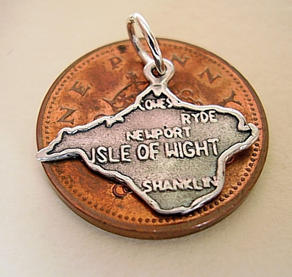 Map Of Isle Of Wight Sterling Silver Charm
