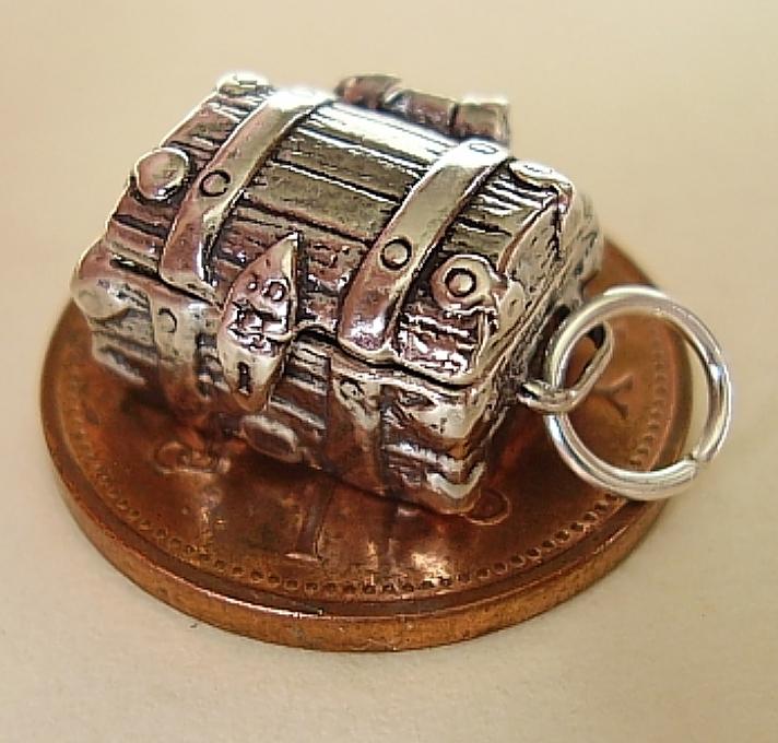 Treasure Chest Silver Charm